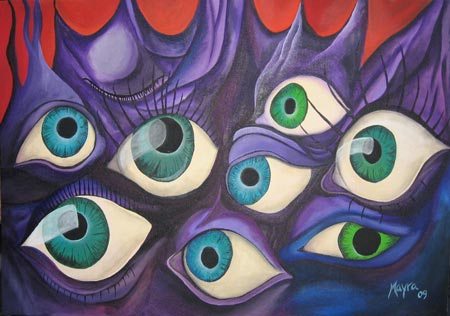 Obra de arte en acrílico de Los ojos de Dalí