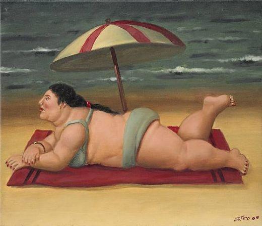 Mujer en la playa pintada por Botero